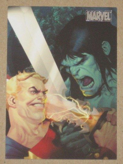 Marvel Heroes and Villains (Rittenhouse 2010) Parallel Card #21- Skaar vs. Tyrannus EX-MT