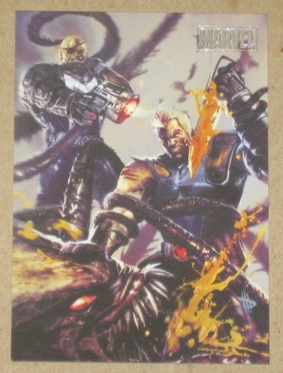 Marvel Heroes and Villains (Rittenhouse 2010) Parallel Card #42- Cable & Bishop vs. Brood EX-MT
