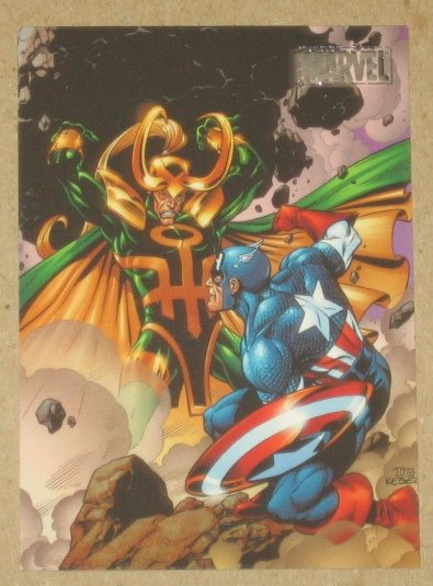 Marvel Heroes and Villains (Rittenhouse 2010) Parallel Card #70- Captain America vs. Loki EX