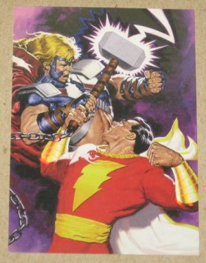 DC versus Marvel (Fleer/SkyBox 1995) Holo F/X Card #10- Captain Marvel vs. Thor EX