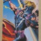 DC versus Marvel (Fleer/SkyBox 1995) Impact Card #9- Hawkeye EX-MT