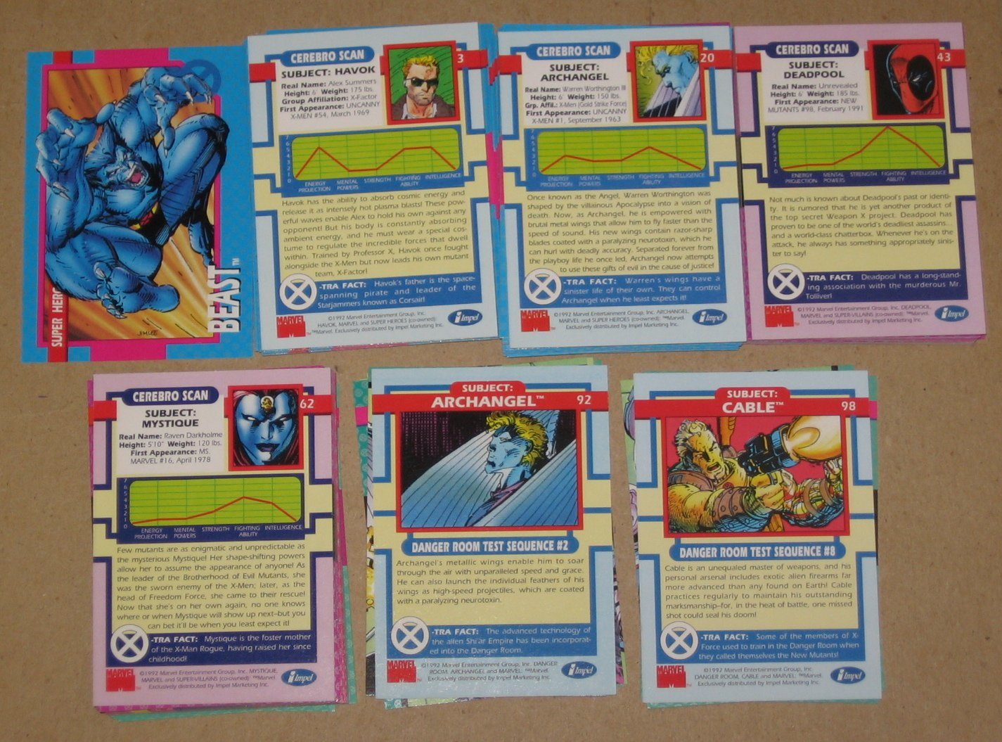 X-Men Series 1 (Impel 1992) - Near Card Set 94/100 EX
