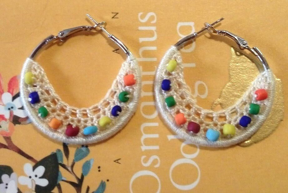 3b147e67e7b Handmade Crochet Bohemian Hoop Earrings 4cm or 1.5 inches hoop with beige  lace and Czech beads