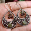 Vintage Romance Earrings - Intricate Red and Green Garnet and Pearl Earrings