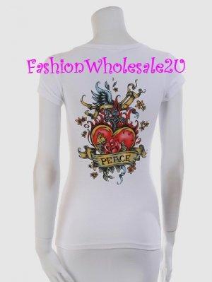 "VO White Heart ""Love Letter"" Tattoo Short Sleeve T-Shirt Top Wholesale (7 Pack)"