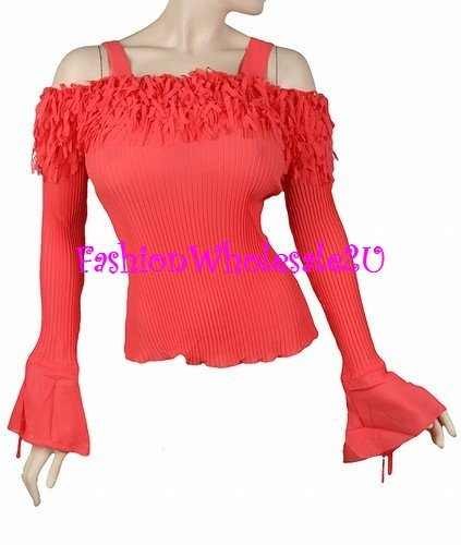 AS Ruffle Off- the-Shoulder Ribbed Top Wholesale (6 Pack)