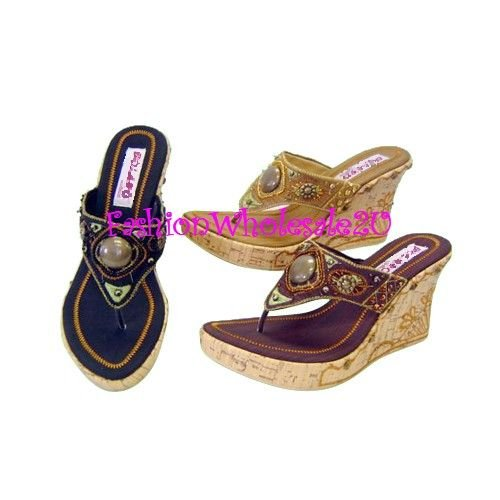 B Gypsy Wedge Womens Shoes Wholesale (18 Pair) - CAMEL