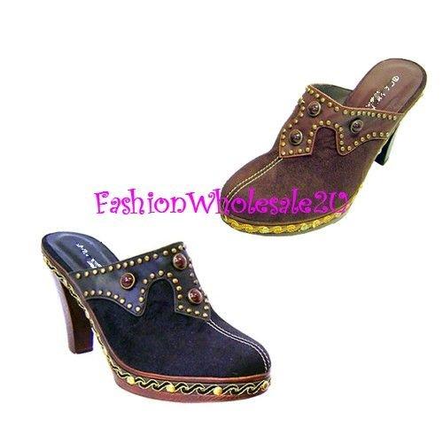 B Western Heel Womens Shoes Wholesale (18 Pair) - BLACK