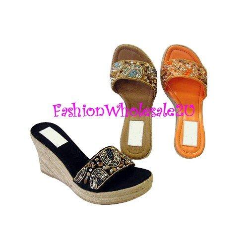 HW Art Beading Wedge Womens Shoes Wholesale (18 Pair) - BROWN