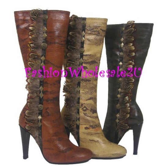 HW Snake Imprint Feather and Stud Boots Wholesale (12 Pair) - DARK BROWN