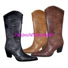 HW Stud and Snake Print Tip Cowboy Boots Wholesale (12 Pair) - BLACK