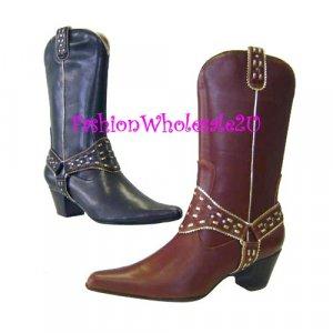 HW Dress Saddle  Fashion Cowboy Womens Boots Wholesale (12 Pair)  - BROWN