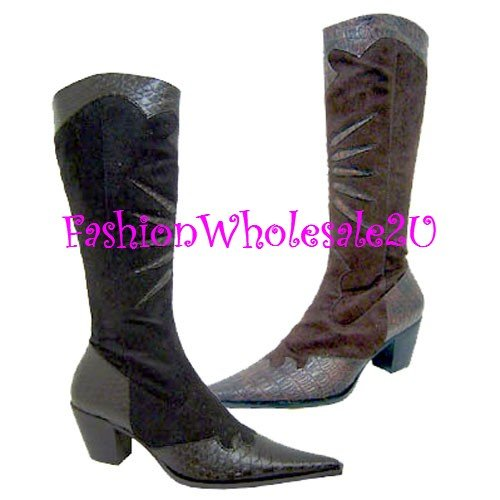 HW  Croco Pointed Toe Fashion Cowboy Boots Wholesale (12 Pair) - BLACK