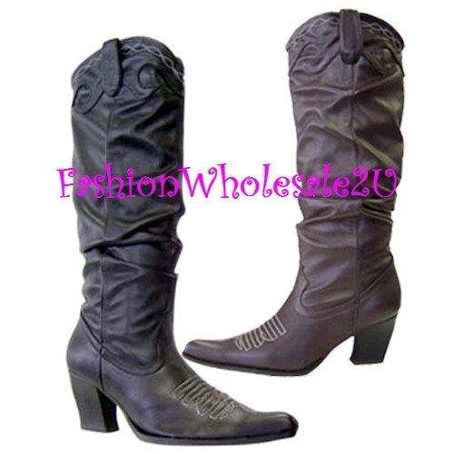 HW  Rouched Fashion Cowboy Boots Wholesale (12 Pair) - BLACK