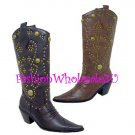 HW Stud Cowboy Boots Wholesale (12 Pair) - BROWN