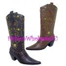 HW Stud Cowboy Boots Wholesale (12 Pair) - BROWN