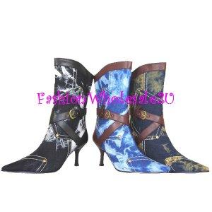 HW Denim Bleach Style Fashion Cowboy Boots Wholesale (12 Pair)  - BLACK