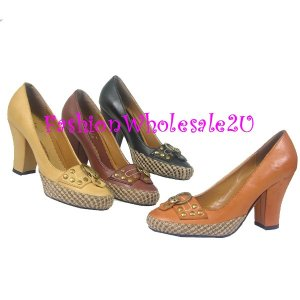 HW High Heel Canvas Woven Trim Womens Shoes Wholesale (12 Pair) - BROWN
