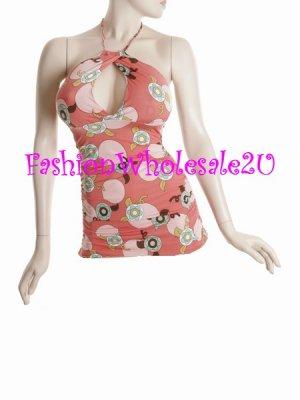 "WS Pink/Multicolor ""60's"" Dot Keyhole Halter Top Wholesale (5 Pack)"