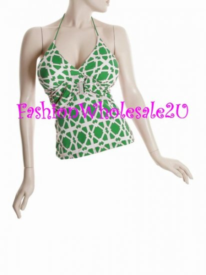 WS Green/White Jewel Center Halter Top Wholesale (3 Pack)
