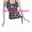 WS Black/White Scoop Neck Halter Top Wholesale (6 Pack)