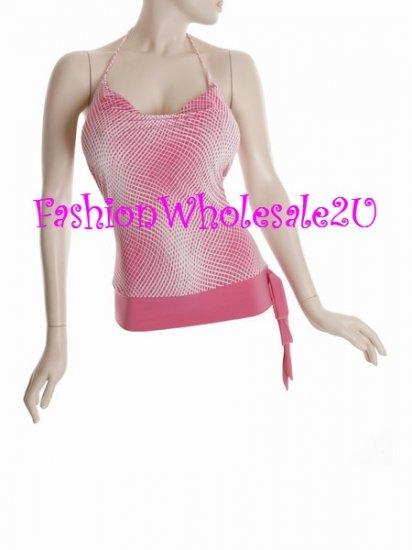 WS Pink /White Pixel Drape Neck Halter Top Wholesale (6 Pack)