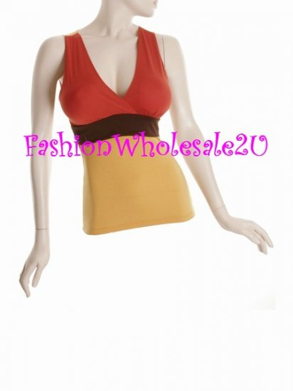 WS Tri-Solid V-Neck Halter Top Wholesale (6 Pack)