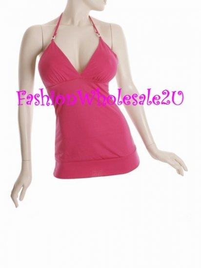 WS Fuschia Pink V-Neck Halter Top Wholesale (6 Pack)