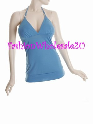 WS Blue Pink V-Neck Halter Top Wholesale (6 Pack)