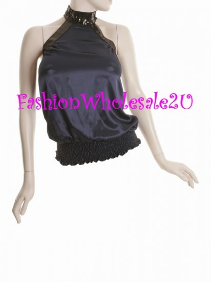 WS Midnight Blue Band Neck Halter Top Wholesale (5 Pack)