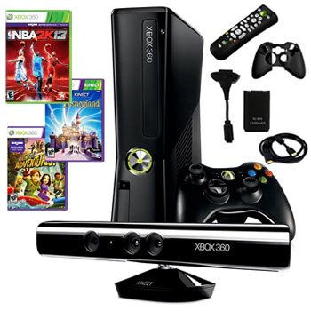XBOX 360 SLIM 4GB KINECT BUNDLE WITH 3 GAMES AND MORE