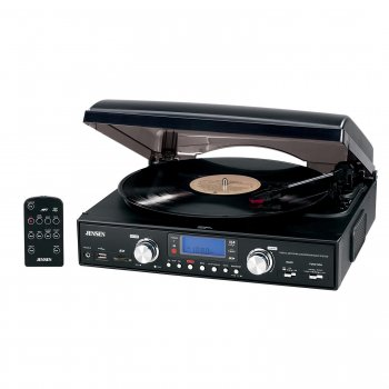 JENSEN JTA460 3-SPEED STEREO TURNTABLE WITH MP3 ENCODING SYSTEM AND AM/FM STEREO RADIO