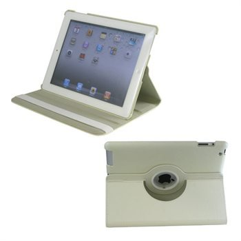 ROTATING DUEL LAYER PU LEATHER CASE FOR IPAD 2 WHI (Model: 344WPUIB)