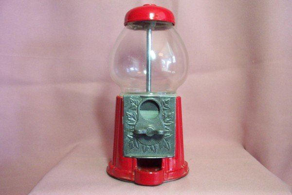 GUMBALL MACHINE Countertop, Red Metal & Glass, Penny or Nickel
