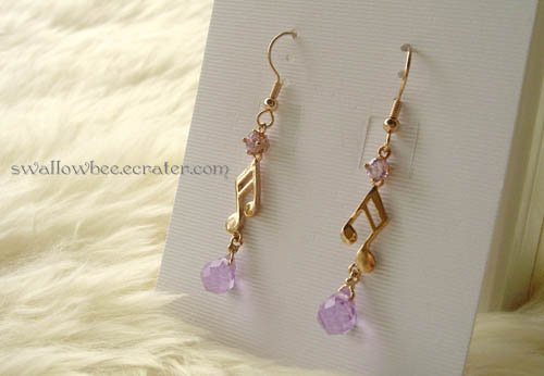 Purple Zircon Music Note Gold Tone Earrings