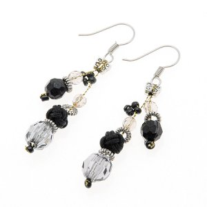 Black and Clear Bead Earrings