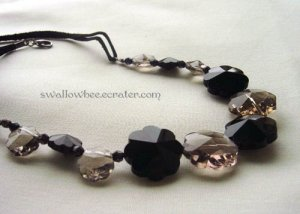 Sophisticated Black Crystal Snowflake Necklace
