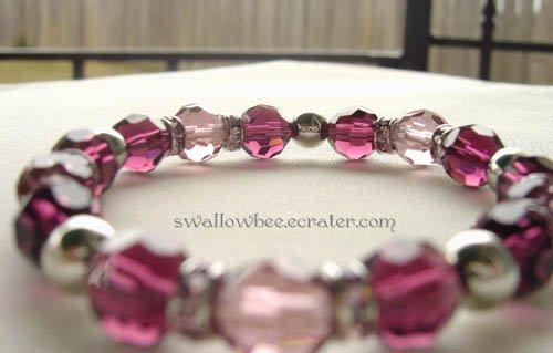 Pink and Maroon Crystal Elastic Bracelet
