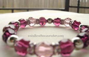 Pink and Maroon Crystal Elastic Bracelet