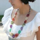 Purple Beige Red Green(Oval-Shape) Long Necklace