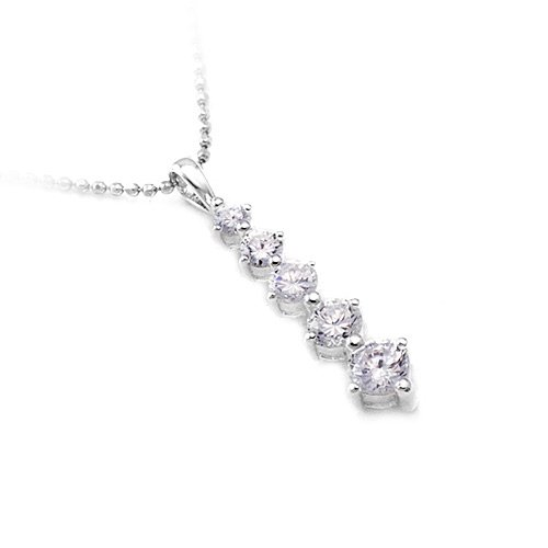 Sterling Silver Zircon Drop Necklace
