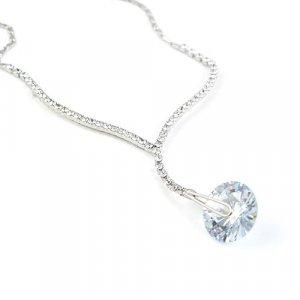 Simply Elegant Silver Tone Zircon Necklace