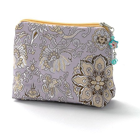 Asian Style Purple Silk Cosmetic Bag