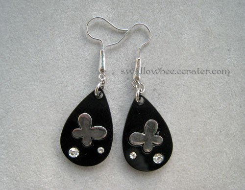 Black Butterfly Drop Earrings