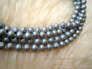Silver Wooden Beads Long Necklace