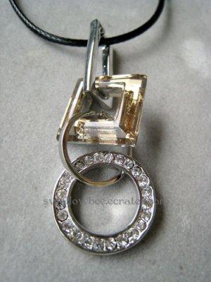 Goldenrod Rhinestone Love Ring Necklace