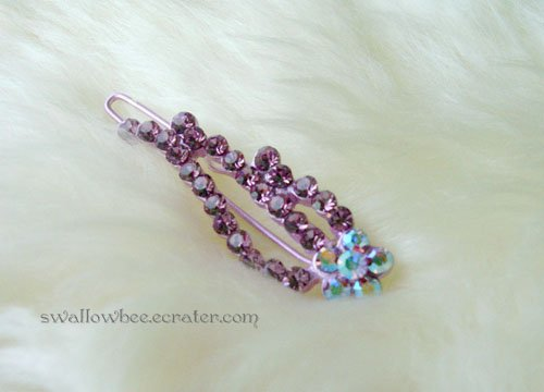 Purple Flower Sparkling Hair Clip