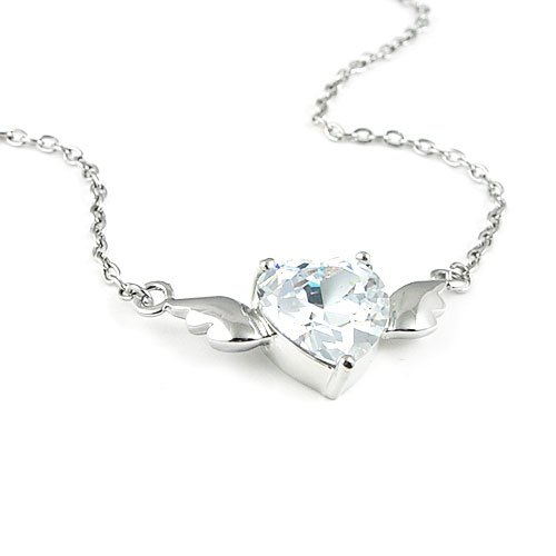 Angel's Heart Zircon Silver Tone Necklace