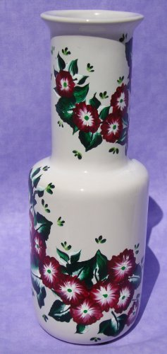 White Vase With Warm Burgundy Flowers