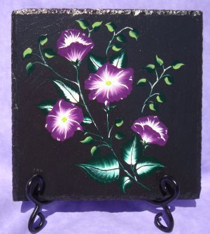 Black Trivet With Painted Flowers